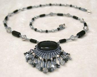 Starry Night Black Cat's Eye Beaded Cabochon Necklace