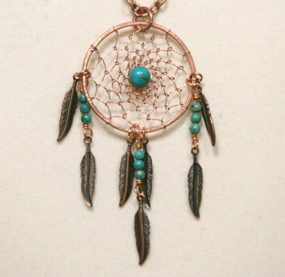 Dream Catcher Copper & Gemstone Dreamcatcher Necklace with Feathers Turquoise, Malachite, Lapis Lazuli, Goldstone, Jasper, Unakite