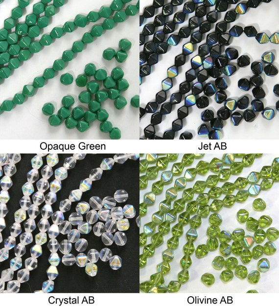 Czech pressed glass bicone 6mm beads green, jet, crystal, olivine, 50 pieces