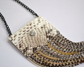 SALE 50% off Python / LEATHER with Grizzly FEATHER Reversible Necklace White soft deer leather / real python snakeskin