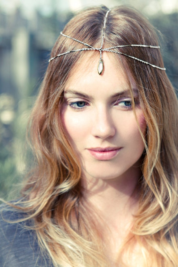 Ethereal Silver Chain Headdress with Dangling Glass Bead