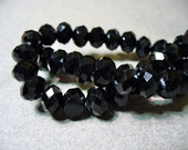 Crystal Beads Faceted Black Rondelles 8x5mm