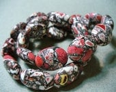 Mosaic  Beads Red Gray Black Oval 18x13MM