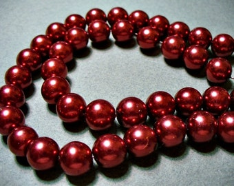 Glass Pearls Red Wine 10mm