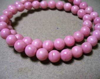 Rose Jade Round Beads 6mm