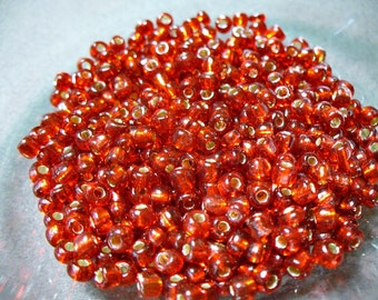 Seed Beads Red with Silver Lining 4mm 28 grams