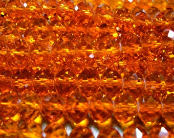 Crystal Beads Tangerine Faceted  Rondelles 6x4MM