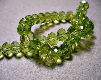 Crystal BeAds Olive Green Faceted  Rondelles 8x5MM