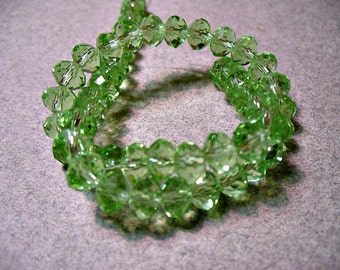 Crystal Beads Light Green Faceted  Rondelles 6X4MM