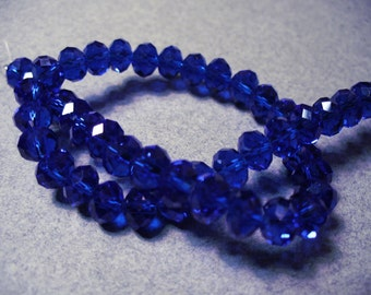 Crystal Beads Royal Blue Faceted  Rondelles 8X5MM