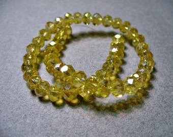 Crystal Beads Sunglow AB Faceted Rondelles 6x4MM