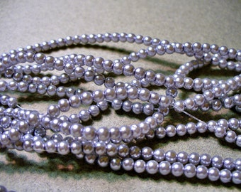 Glass Pearls Lilac Silver 3-4MM