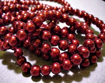 Glass Pearls Red Wine 6mm