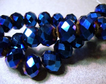 Crystal Beads Indigo Plated Faceted Rondelles 10x8mm