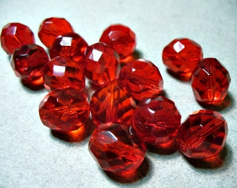 Crystal  Beads Czech Firepolished  Red  Round 12MM