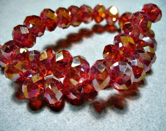 Crystal Beads Red AB Faceted Rondelles 8x5MM