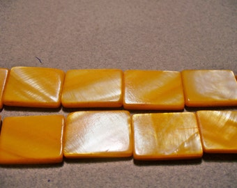 Mother of Pearl Orange Rectangular Shell 20x15mm