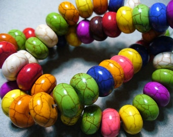 Magnesite Beads Gemstone Mixed Colors Rondelle 12x6MM