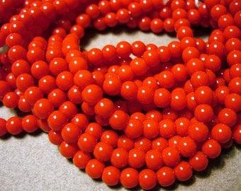 Glass Beads Red Round 4MM