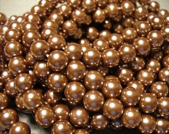 Glass Pearls Dusty Rose Brown 8mm