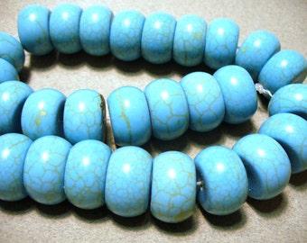 Magnesite Beads Turquoise Rondelle 18x10mm
