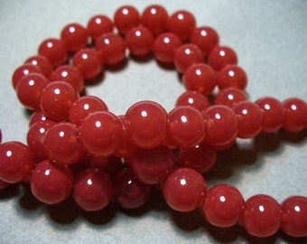 Jade Glass Beads Red Round 10MM