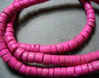 Coco Beads Wood Rustic Pink Heishi  6-7mm