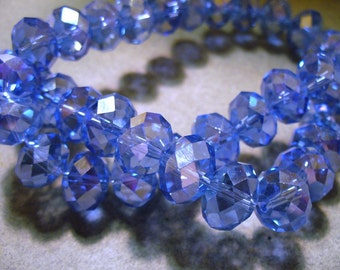 Crystal Beads Blue AB Faceted Rondelles 12x8MM