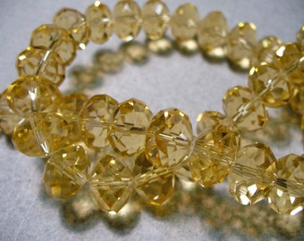 Crystal  Beads Golden Champagne Faceted Rondelles 12x8MM