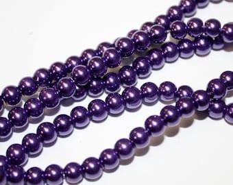 Glass Pearls Purple  6MM