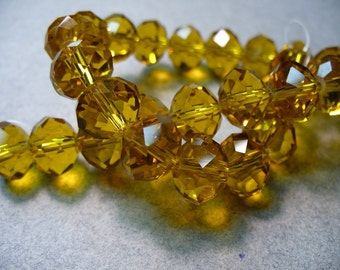 Crystal Beads Light Amber Faceted  Rondelles 10x8MM