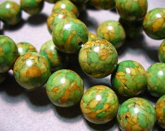 Mosaic Beads Gemstone Green Orange Round 12MM