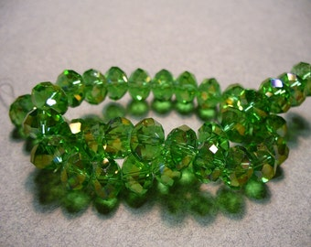 Crystal Beads Light Green AB Faceted  Rondelles 8x5mm