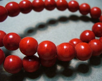 Howlite Beads Red 10MM