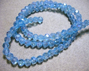 Crystal Beads  Faceted  Blue AB Round 4MM