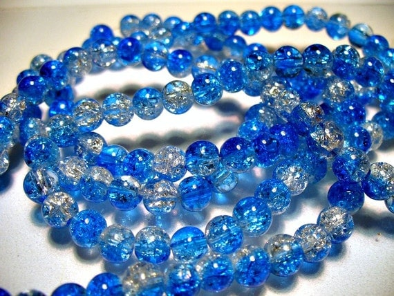 50 - 6MM Blue and Clear Crackle Glass Beads