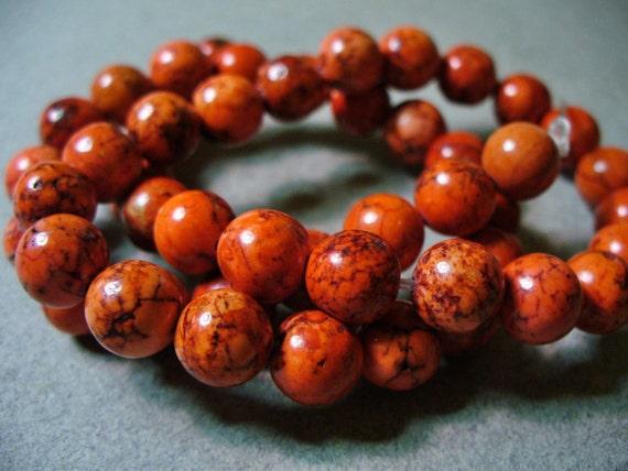 20 - 7-8MM Orange Magnesite Gemstone Beads