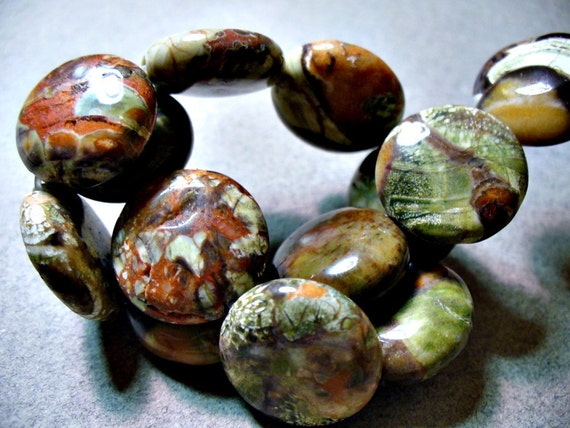 Peacock Vista Jasper Beads Gemstone Coin 16MM