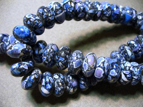 Mosaic Turquoise Beads Gemstone Blue Gray Black Rondelle  12x8mm