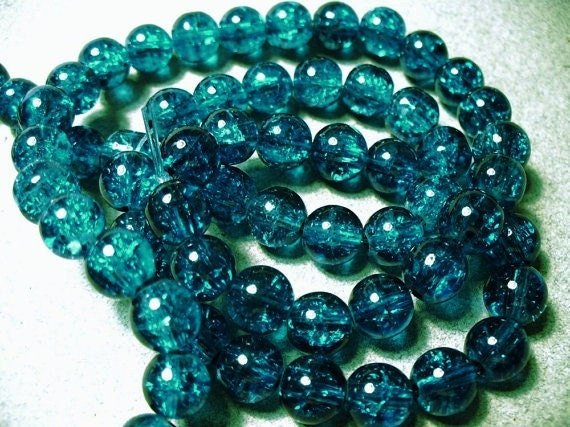 50 - 8MM Blue Crackle Glass Beads