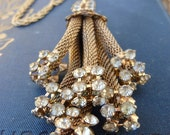 OOAK Vintage Upcycled Rhinestone and Gold Pendant Tassle Necklace
