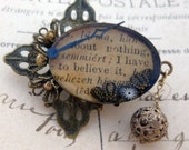 OOAK Romantic Victorian Steampunk Brooch - Resin Brooch - Collage Brooch - Vintage Inspired