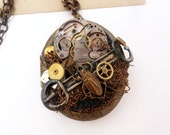 Steampunk Gears and Beetle Locket - Buckle - Mixed Media Necklace - Assemblage Jewelry - Art Necklace - Clockworks