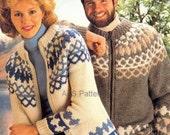 PDF Knitting Pattern His & Hers Fair Isle Nordic Zippered Chunky Jacket