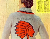 PDF Knitting Pattern For Mans Red  Indian  Native American Chief Sweater.