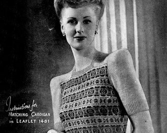 PDF Knitting Pattern for a Fabulous 1940s Fair Isle Jumper - Instant Download