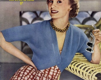 PDF Knitting Pattern for 1950s Ladies Bolero in a Super Easy-Knit Style - Instant Download