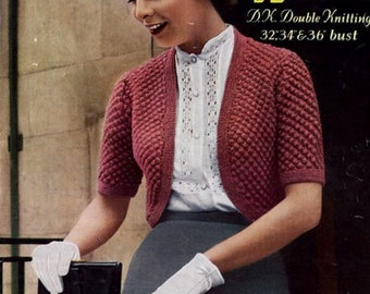 PDF Knitting Pattern for a Retro Blackberry Stitch Bolero - 1950's - Instant Download