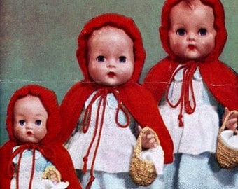 PDF Knitting Pattern for 1940's Red Riding Hood Dolls Clothes Outfit - Instant Download