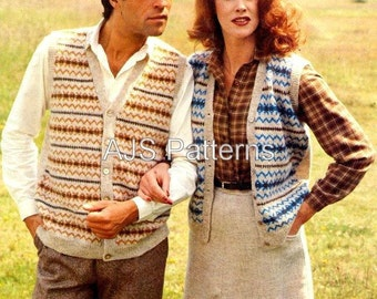 PDF Knitting Pattern for  His and Hers Fair Isle Waistcoats - Instant Download